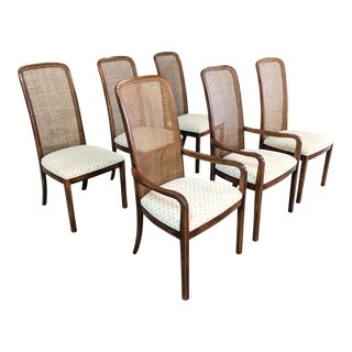 Milo Baughman Style Cane Back Walnut Dining Chairs - Set of 6