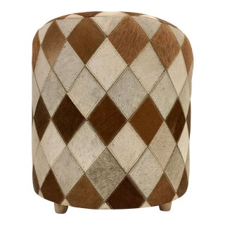 Cow Hide Covered Ottoman
