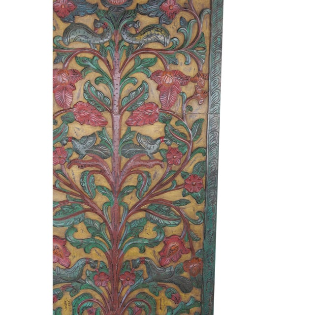 Asian Vintage Indian Kalpavriksha Tree of Dreams Wall Sculpture Barn Door Panel For Sale - Image 3 of 4