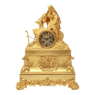 French Neoclassical Revival Gilt-Bronze Ormolu Figural Mantel Clock For Sale