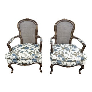 1970s Vintage French Bergere Chairs- a Pair For Sale