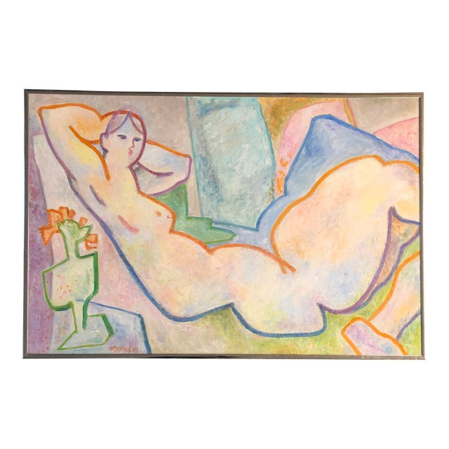 Original Vintage May Bender Female Nude Abstract Painting For Sale