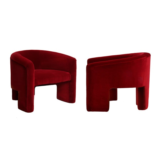 Mohair Vladimir Kagan Style Lounge Chairs Reupholstered in Plush Red Velvet For Sale - Image 7 of 7