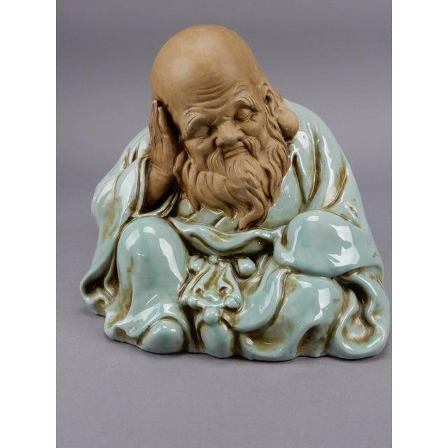 Asian Incredible Japanese Kutani Celadon Glazed Fukurokuju Statue For Sale - Image 3 of 13
