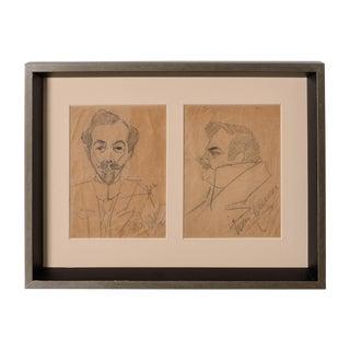 Signed Pencil Sketch of Enrico Caruso and Arturo Buzzi-Peccia by Enrico Caruso For Sale