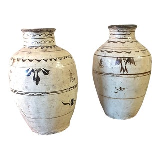 Yuan Dynasty Cizhou Glazed Earthenware Jars - a Pair