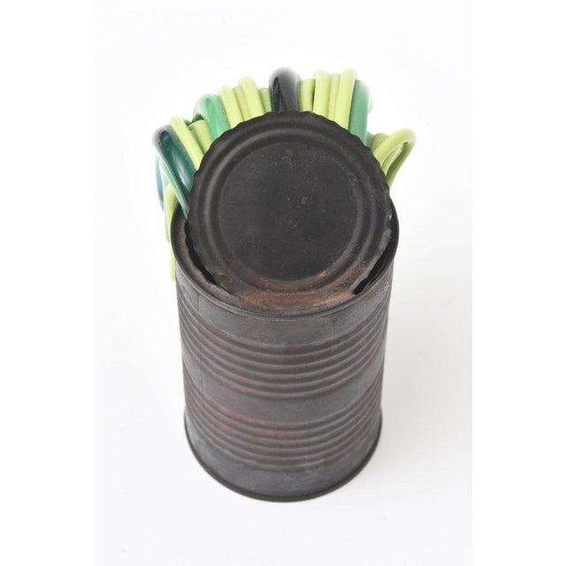 Green Leonardo Cimolin Italian Tin Can and Murano Glass Sculpture For Sale - Image 8 of 10