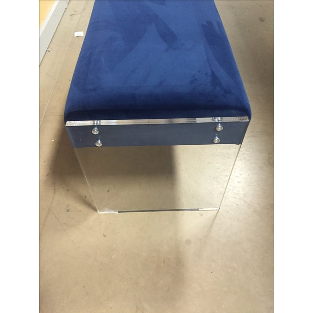 Navy Blue Velvet Bench Ottoman With Lucite Base - Image 4 of 6