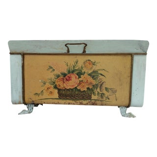 Antique Distressed Painted Tole Magazine Rack For Sale