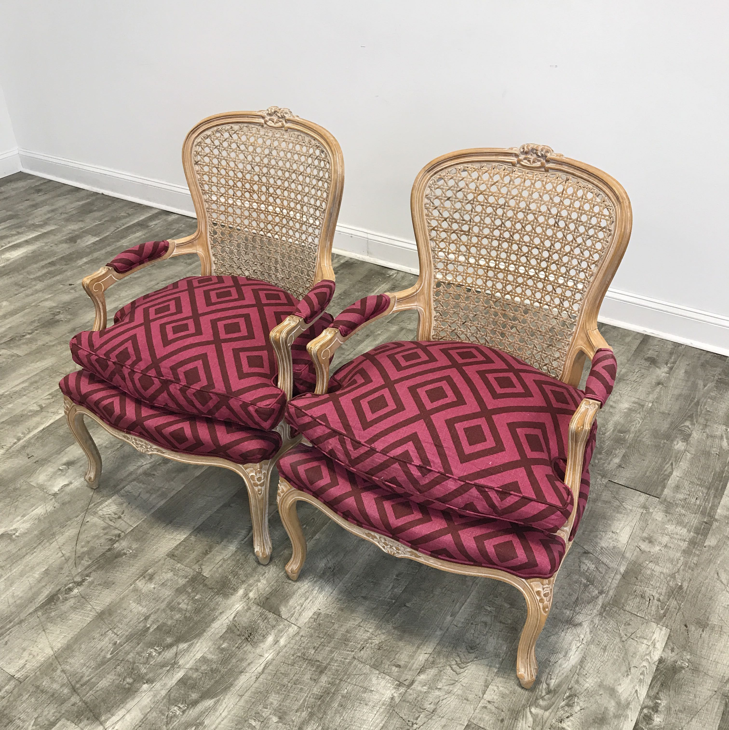 Great Pair Of Pink Upholstered Cane Back Accent Chairs   Image 3 Of 4