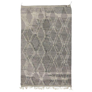 Contemporary Modern Moroccan Rug with High and Low Pile