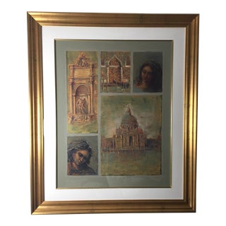 """""""Reminiscence - Mosaic"""" Contemporary Figurative Serigraph by Armand M., Framed For Sale"""