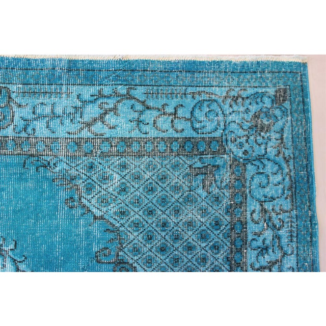 Turkish Over-Dyed Turquoise Rug - 5′5″ × 9′3″ - Image 8 of 11