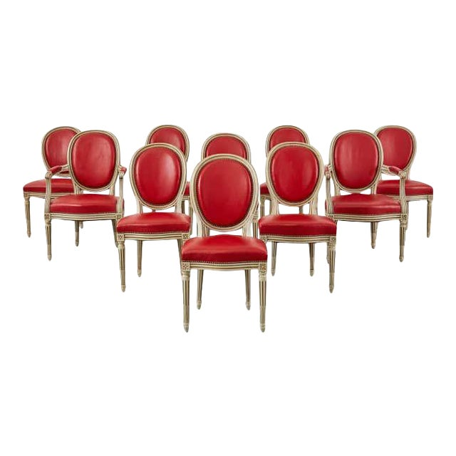 Set of Ten French Louis XVI Style Painted Dining Chairs For Sale