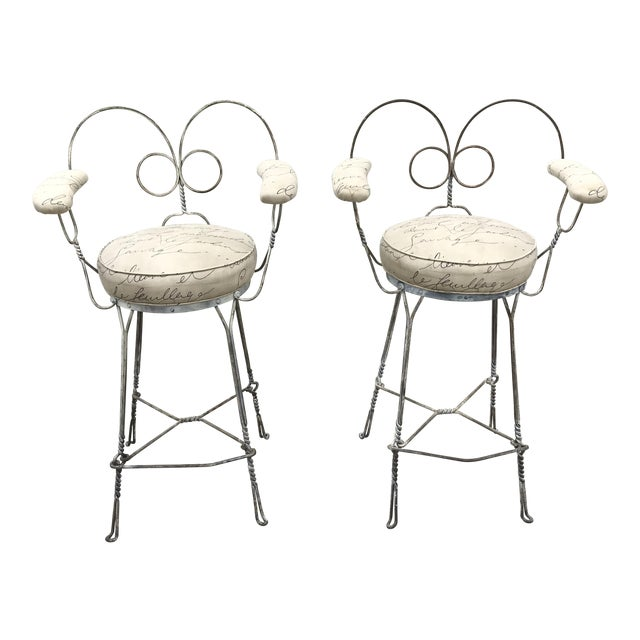 1920's Vintage Twisted Iron Ice Cream Parlor Stools - A Pair For Sale
