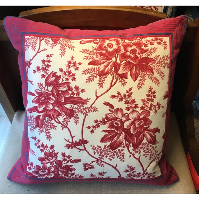 French French Style Antique Ticking & Toile Pillow For Sale - Image 3 of 3