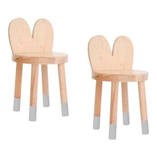 Nico & Yeye Lola Kids Chair Solid Maple and Maple Veneers Gray - Set of 2 For Sale