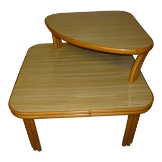 Vintage Mid-Century Modern Bamboo 2 Tier Side Table
