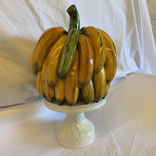 White Italian Ceramic Banana Bunch Compote For Sale - Image 8 of 10