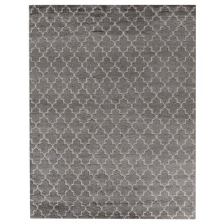 """West Hand loom Bamboo/Silk Gray Rug-10'x14"""" For Sale"""