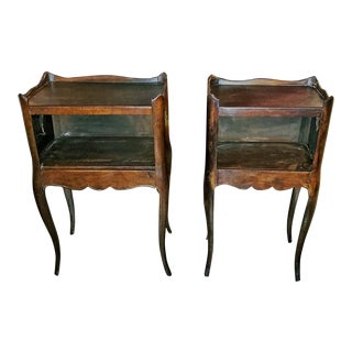 19th C. French Country Walnut Side Tables - a Pair For Sale