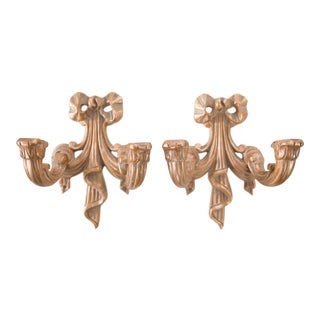 French Gilt Wood Carved Ribbon Candle Wall Sconces - a Pair For Sale
