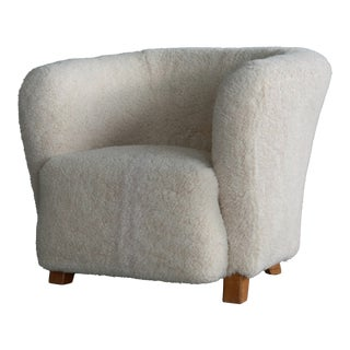 Danish 1940s Otto Schulz Style Club Chair Covered in Beige Lambswool For Sale