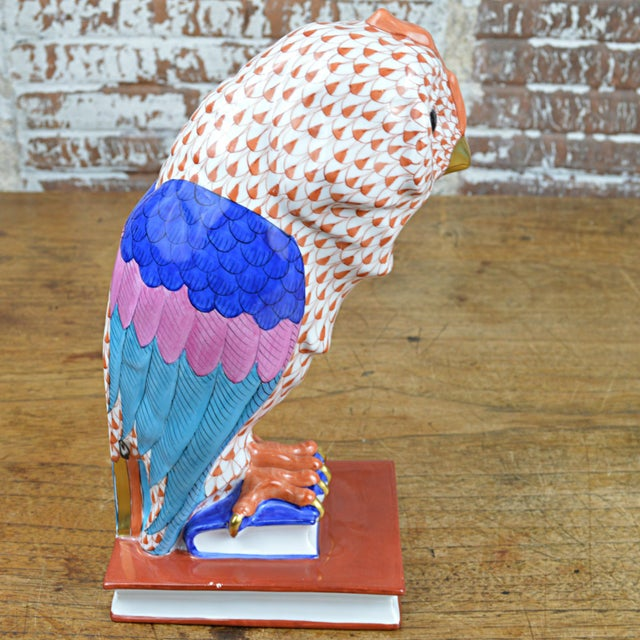 Mid 20th Century Herend Porcelain Owl on Books, Facing Right For Sale - Image 5 of 11