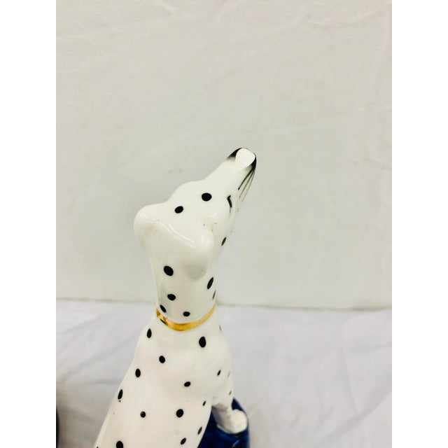 Pair Painted Porcelain Dog Sculptures For Sale - Image 9 of 10
