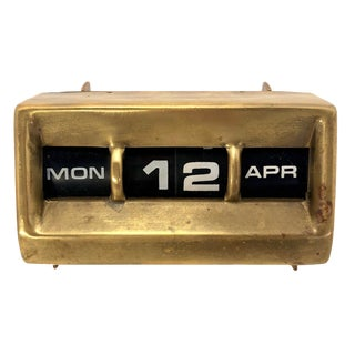 Vintage Mid Century Brass Modernist Tabletop Perpetual Calendar For Sale