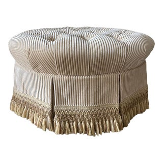 Custom Tufted Upholstered Ottoman with Fringe For Sale