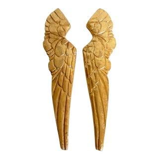 Vintage Inspired Carved Angel Wings, a Pair