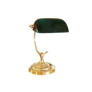 Classic Brass & Glass Banker's Lamp For Sale