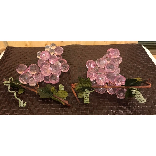Mid 20th Century Pink & White Faceted Lucite Grapes - A Pair For Sale - Image 5 of 8