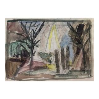 1950s Mid-Century Landscape Watercolor For Sale