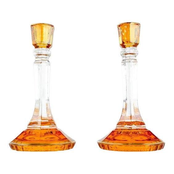 Mid Century Italian Art Glass Candlesticks - a Pair For Sale