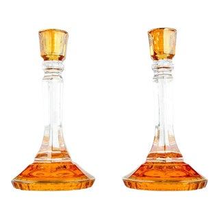 Pair of Italian Art Glass Candlesticks For Sale