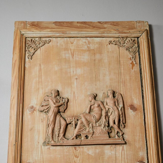 French 1820s French Directoire Pine Trumeau Mirror For Sale - Image 3 of 12