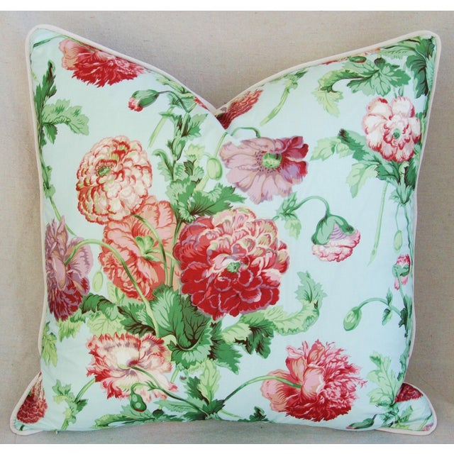 """Late 20th Century Designer Brunschwig & Fils Poppies Feather/Down Pillows 22"""" Square - Pair For Sale - Image 5 of 10"""