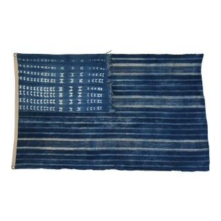 "Boho Chic Indigo Blue & White Flag From African Textiles 57"" X 36"" For Sale"