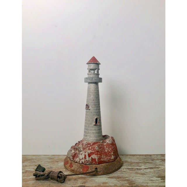 Nautical Vintage Lighthouse Sculpture Table Lamp For Sale - Image 3 of 5