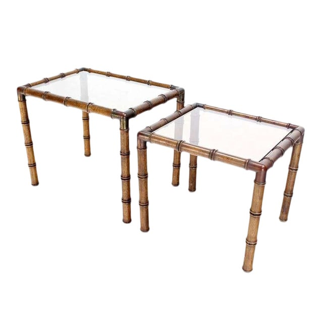 Mid Century Modern Faux Bamboo Nesting Stacking End Tables For Sale