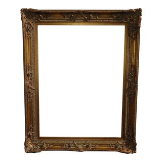 Large 58x44 Vintage French Provincial Ornate Gold Picture Frame For Sale