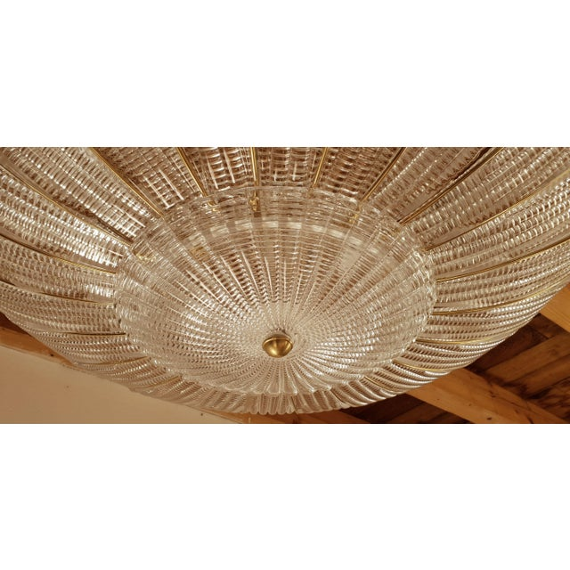 Gold Large Mid-Century Modern Round Clear Murano Glass Flush Mount For Sale - Image 8 of 12