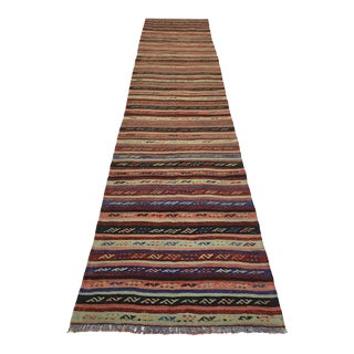 Subtle Stripe Vintage Kilim Runner | 2'4 X 10'11 For Sale