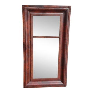 Antique American Empire Flame Mahogany Ogee Frame Trumeau Mirror For Sale