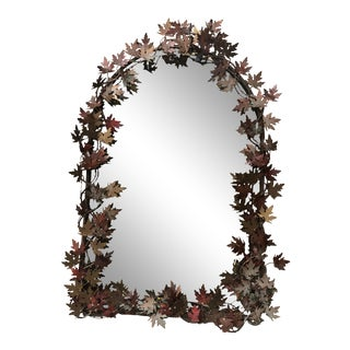 Vintage Mirror With Copper Metal Cut Leaves For Sale