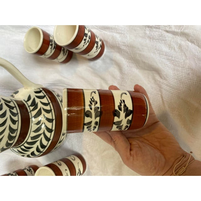 Rustic European Vintage Mid-Century Hand Painted Sangria Pitcher Set - 7 Pieces For Sale - Image 3 of 6
