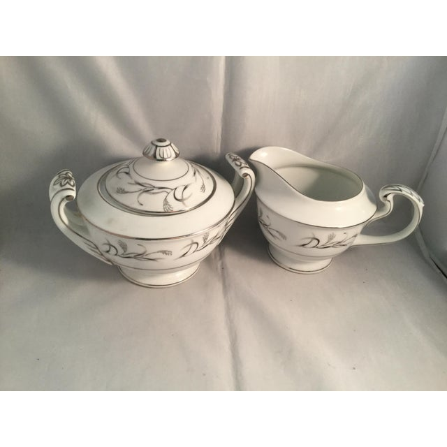 Diane Pattern Vintage Harmony House Fine China Platinum Garland 3541 Sugar and Cream Set - 2 Pieces For Sale - Image 4 of 6