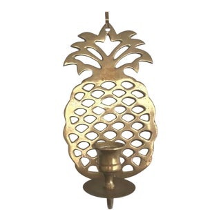 Hollywood Regency Brass Pineapple Candle Holder For Sale